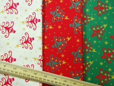 Christmas Cotton Fabric Twinkle Trees