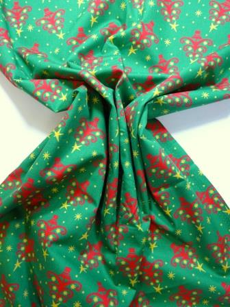 Christmas Cotton Fabric Twinkle Trees green