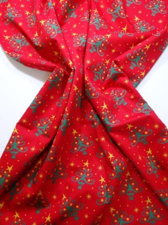 Christmas Cotton Fabric Twinkle Trees red