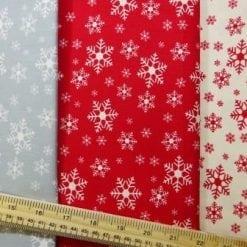 Christmas Cotton Fabric Snow Flakes