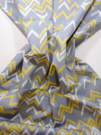Cotton Fabric Chevrons mustard/grey