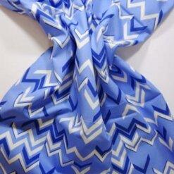 Cotton Fabric Chevrons blue/cream