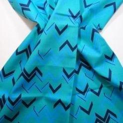 Cotton Fabric Chevrons turq/jade