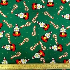 Christmas Cotton Fabric Candy Canes With Santa green
