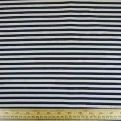 Jersey Fabric Navy/Ivory Crinkle Stripe