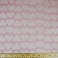 Huggable Fleece Fabric Hearts Pink