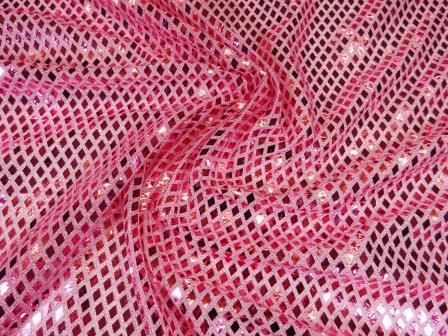 Pink Sequin Fabric Diamond Knitted Lurex Jersey