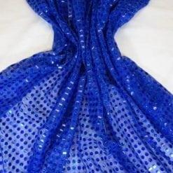 Sequin Jersey Fabric 6mm Spot Lurex Royal
