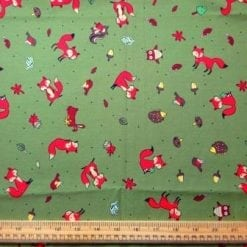 Khaki Foxes cotton print fabric
