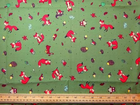 Khaki Foxes cotton print fabric