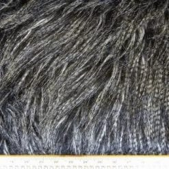 Faux Fur Fabric Luxury Siberian Wolf Thick Long Hair Salt & Pepper