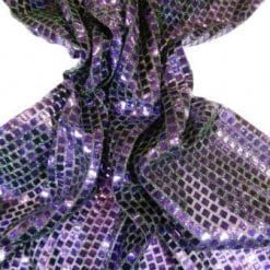 Sequin Jersey Fabric Two Tone Squares Lurex Purple Shot Green