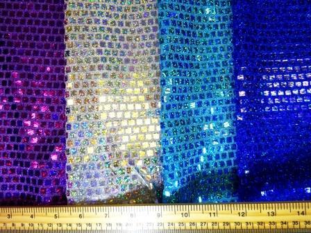 Sequin Jersey Fabric Mini Hologram Squares Lurex