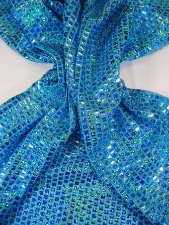 Sequin Jersey Fabric Mini Hologram Squares Lurex turquoise