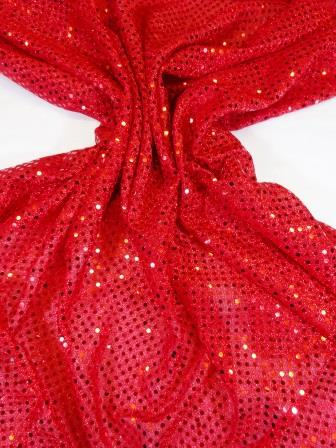 Sequin Jersey Fabric Pin Spot Lurex scarlet