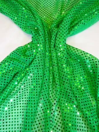 Sequin Jersey Fabric Pin Spot Lurex leprechaun green
