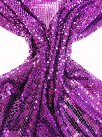 Sequin Jersey Fabric 5mm Spot Lurex purple vine