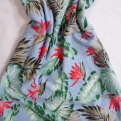 Jersey Fabric T-Shirting Hawaiian Leaf blue