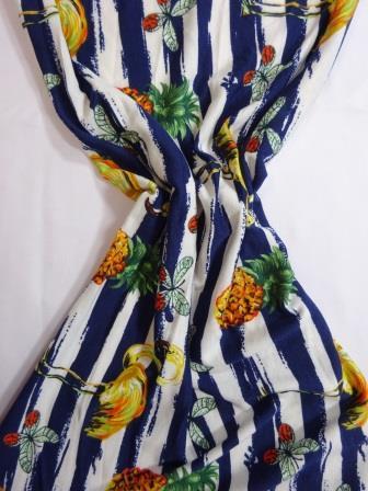 Jersey Fabric T-Shirting Pineapple Flamingo navy