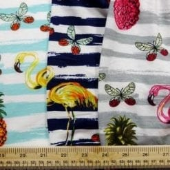 Jersey Fabric T-Shirting Pineapple Flamingo