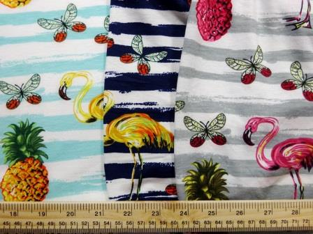 Jersey Fabric T-Shirting Pineapple Flamingo