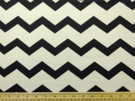 Jersey Fabric T-Shirting Zig Zag black/ivory