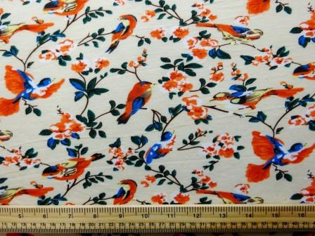 Jersey Fabric T-Shirting Song Birds cream
