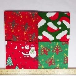 patchwork fat quarters red skiing