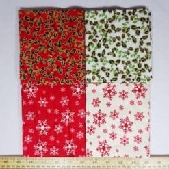 patchwork fat quarters red snowflakes