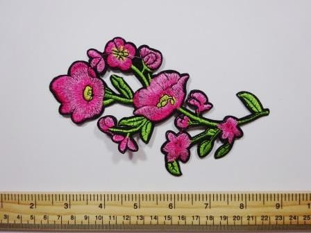 Sew On Motif Pink Poppy Sprig