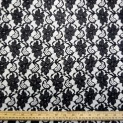 Lace Fabric Jolly Flower Black