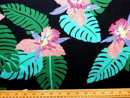 Viscose Java Quality Fabric Steamy Jungle Orchid Black