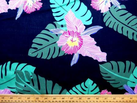 Viscose Java Quality Fabric Steamy Jungle Orchid Navy