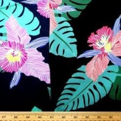 Viscose Java Quality Fabric Steamy Jungle Orchid