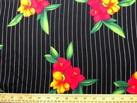Viscose Java Quality Fabric Pin Stripe Fleur black