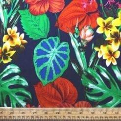 Viscose Java Quality Fabric Pansy Twist Navy/Yellow