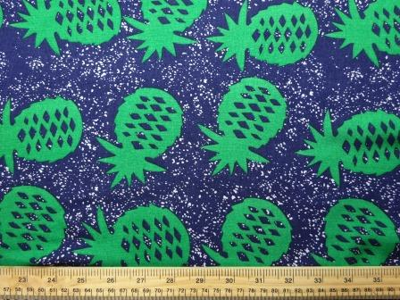 Viscose Java Quality Fabric Pineapple Crumble Navy