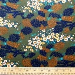 Crepe Viscose Fabric Khaki Daisy Meadow