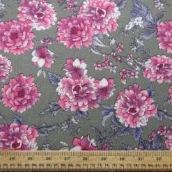 Crepe Viscose Fabric Sage Pink Carnation