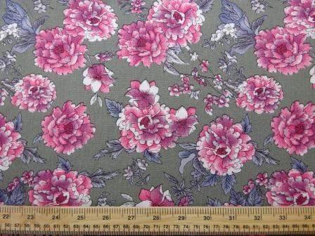 Crepe Viscose Fabric Sage Pink Carnation