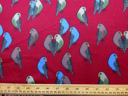 Cotton Brushed Fabric Wine Budgie