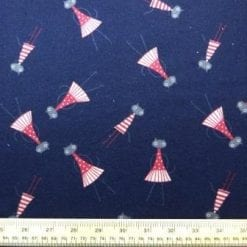 Cotton Brushed Fabric Surprised Cat Nap Navy