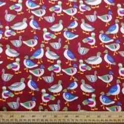 Cotton Brushed Fabric Quackers Wine