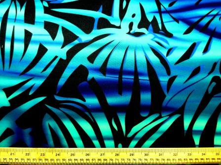 Scuba Jersey Fabric Teal Leaf