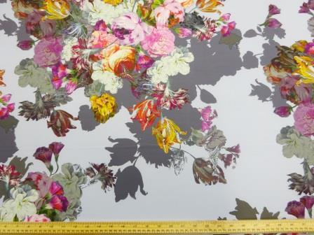 Scuba Jersey Fabric Bouquet Of Flowers light blue