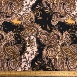T-Shirting Fabric Paisley Gold