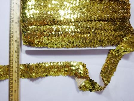Stretch Sequins 4 Row Code Nat gold