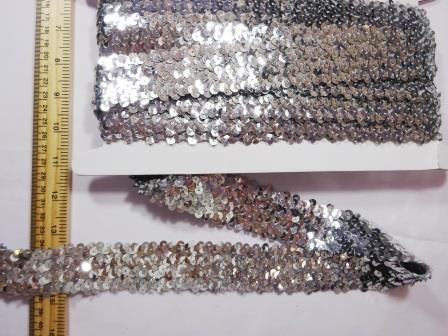 Stretch Sequins 4 Row Code Nat silver