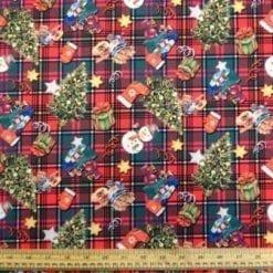 Christmas Jersey Fabric Tartan Snowmen