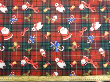 Christmas Scuba Jersey Fabric Tartan Santa